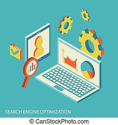 seo, analiza, analytics, projektować, website, isometric, pojęcie, nowoczesny, dane