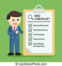 seo, biznesmen, checklist
