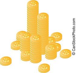 separately, góra, monety, sztaplowany, złoty