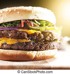 ser, podwójny, bekon, do góry, hamburger, stopiony, zamknięcie