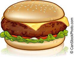 ser, rysunek, hamburger