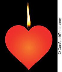 serca, czerwony, kształt, świeca