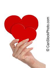 serca, czerwony, ręka