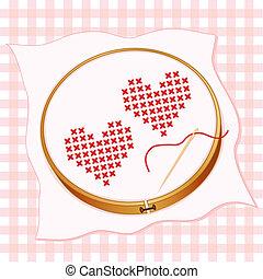 serca, dwa, haft, oczko, krzyż