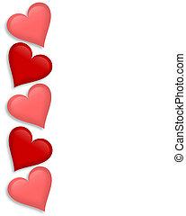 serca, list miłosny, brzeg, dzień, 3d