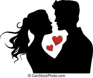 serca, para, sylwetka, pocałunek
