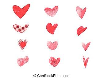 serca, pociągnięty, ręka, struktura