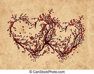 serca, robiony, drzewo, dwa, sakura