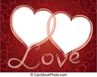 serca, ułożyć, miłość, dwa, próbka
