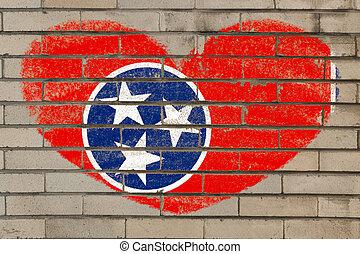 serce, ściana, formułować, bandera, tennessee, cegła