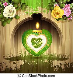 serce, świeca, zielony