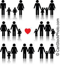 serce, życie, komplet, rodzina, czarny czerwony, ikona