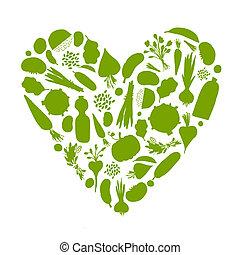serce, życie, zdrowy, warzywa, -, formułować, projektować, twój