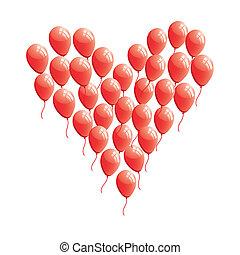 serce, abstrakcyjny, balloon, czerwony