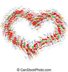 serce, abstrakcyjny, biały, odizolowany, barwny