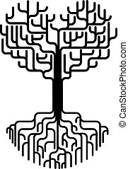 serce, abstrakcyjny, sylwetka, drzewo