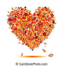 serce, autumn!, liście, formułować, miłość, spadanie