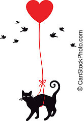 serce, balloon, kot