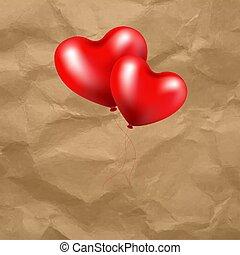 serce, balloon, przeźroczysty, tło, czerwony