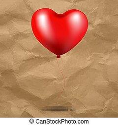 serce, balloon, tektura, czerwone tło