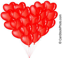 serce, balony, grono, czerwony, formułować