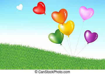serce, barwny, formułować, balony