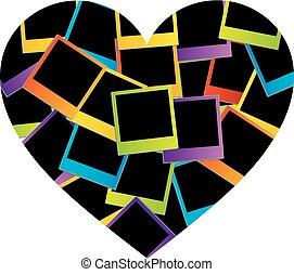 serce, barwny, polaroids