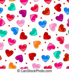 serce, barwny, próbka, na, seamless, formułować, czarnoskóry, zabawa