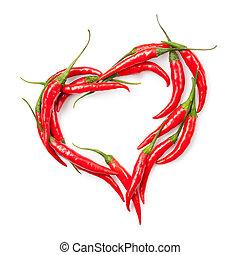 serce, chili, odizolowany, pieprz, biały