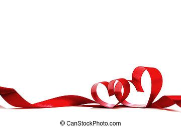 serce, czerwona wstążka, łuk