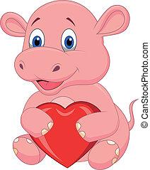 serce, czerwony, rysunek, dzierżawa, hipopotam