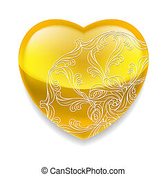serce, dekoracje, błyszczący, żółty