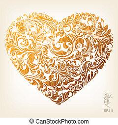 serce, dekoracyjny, złoty, próbka