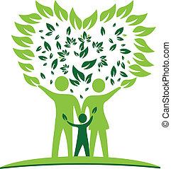 serce, drzewo, liście, logo, rodzina