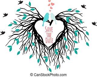 serce, drzewo, ptaszki, ślub
