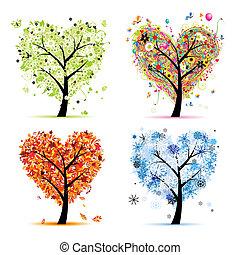 serce, drzewo, twój, wiosna, pory, winter., -, jesień, lato, sztuka, cztery, projektować, formułować