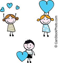 serce, dzieciaki, doodle, figury, wtykać, chorągwie