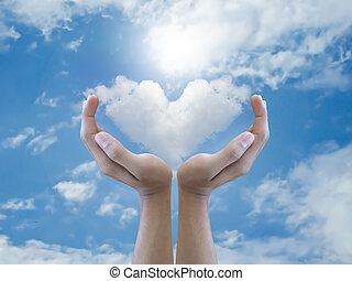 serce, dzierżawa, chmura, ręka