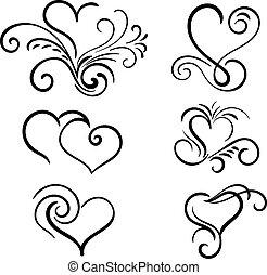 serce, elementy, ręka, wektor, wir, pociągnięty