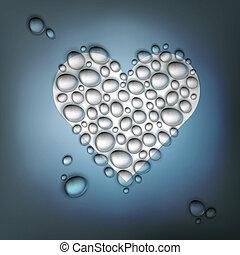 serce, eps10, mający kształt, abstrakcyjny, list miłosny, woda, drops., tło, wektor, dzień