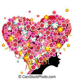 serce, głowa, jej, formułować, dziewczyna, kwiaty