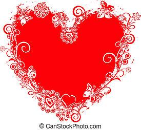 serce, grunge, valentine, wektor, ułożyć