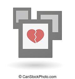 serce, grupa, odizolowany, fotografie, złamany