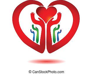 serce, ikona, wektor, dzierżawa wręcza