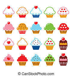 serce, ikony, wiśnia, cupcake