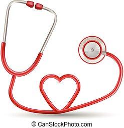 serce, illustration., realistyczny, odizolowany, tło., formułować, wektor, stetoskop, biały czerwony