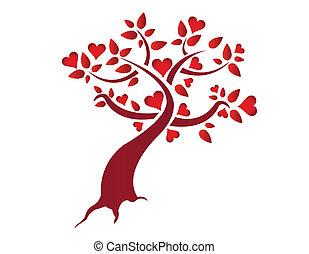 serce, ilustracja, drzewo
