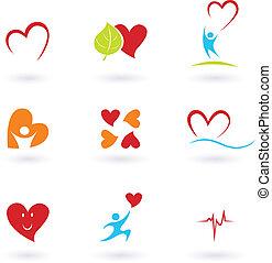 serce, kardiologia, ikony