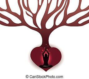 serce, kobieta, cielna, abstrakcyjny, drzewo, formułować, rozmyślać, pod, podstawy