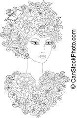 serce, kobieta, colori, kwiaty, młody, kwiatowy, śliczny, twój